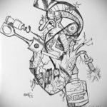 эскиз тату сердце биомеханика 28.11.2019 №005 -sketch for tattoo biomecha- tatufoto.com