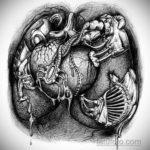 эскиз тату сердце биомеханика 28.11.2019 №006 -sketch for tattoo biomecha- tatufoto.com