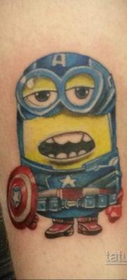 Фото Тату Миньон из мультика 12.12.2019 №014 -Tattoo Minion from the cart- tatufoto.com