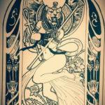 пример рисунка для тату богиня Бастет 02.12.2019 №007 -Bastet tattoo- tatufoto.com