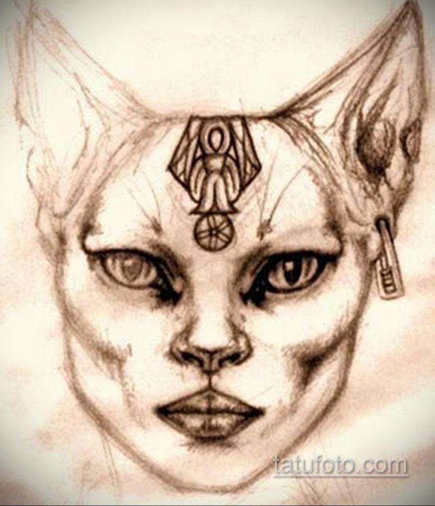 пример рисунка для тату богиня Бастет 02.12.2019 №228 -Bastet tattoo- tatufoto.com