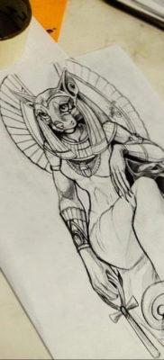 пример рисунка для тату богиня Бастет 02.12.2019 №509 -Bastet tattoo- tatufoto.com