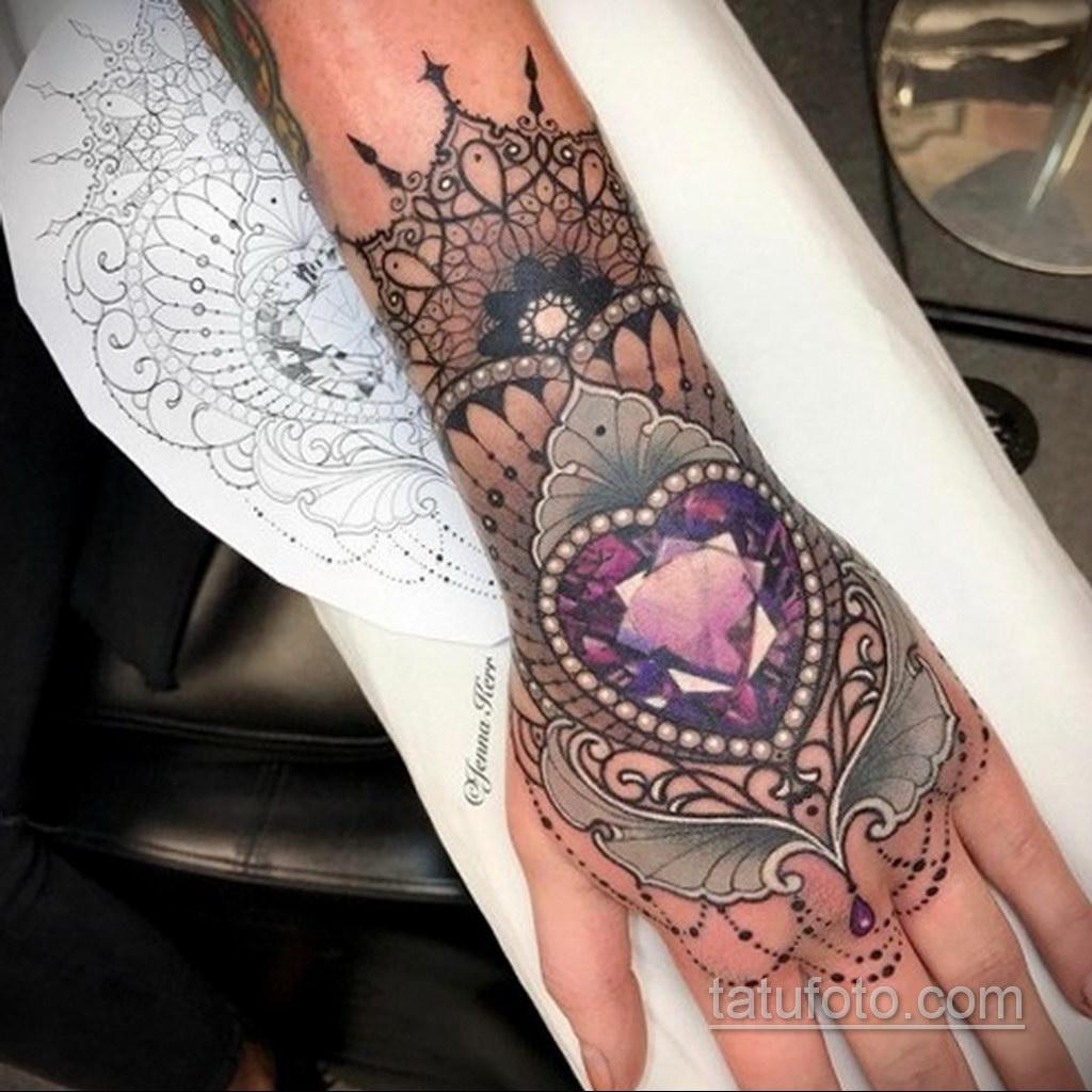 тату диамант на запястье 02.12.2019 №018 -diamond wrist tattoo- tatufoto.com