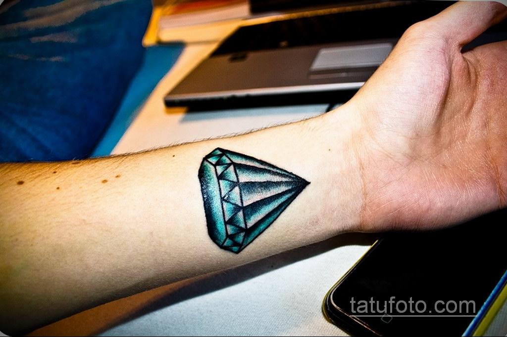 тату диамант на запястье 02.12.2019 №047 -diamond wrist tattoo- tatufoto.com