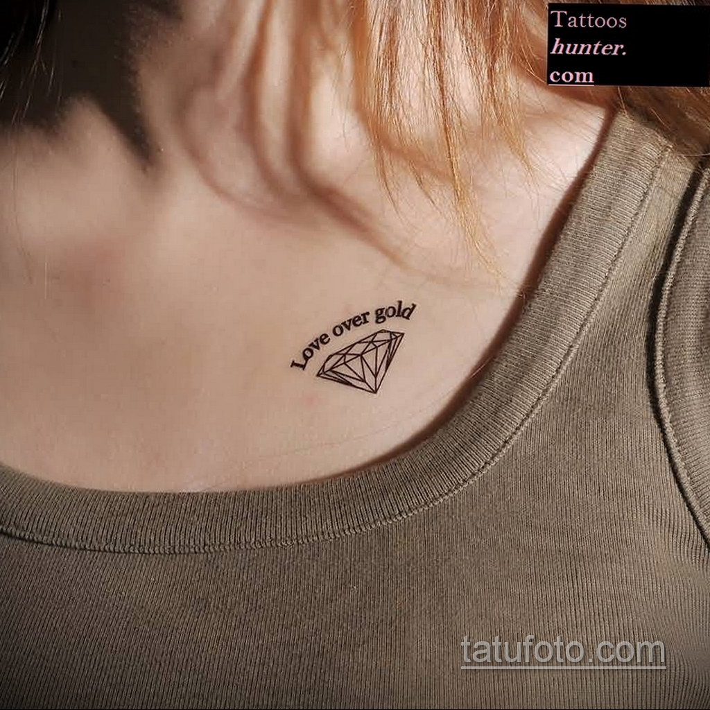 тату диамант на ключице 02.12.2019 №008 -diamond clavicle tattoo- tatufoto.com