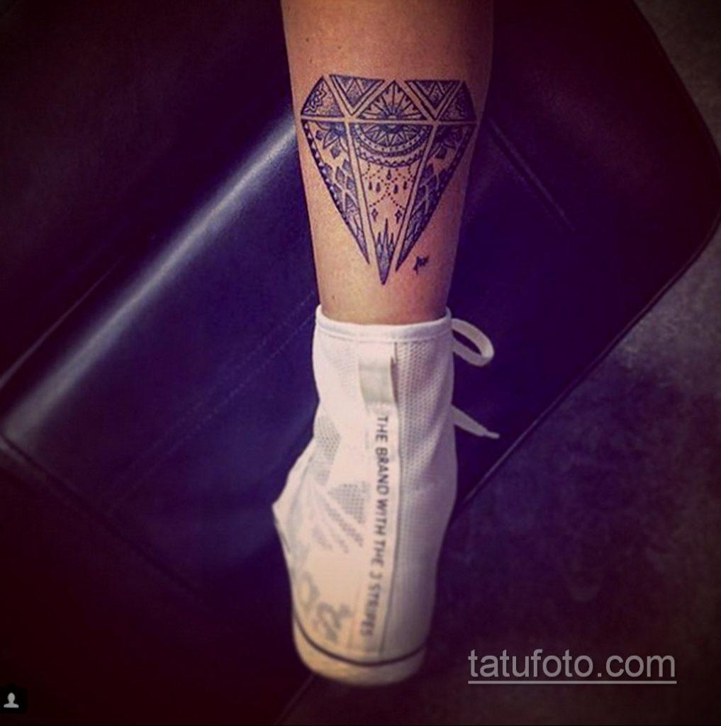 тату диамант на ноге 02.12.2019 №001 -diamond leg tattoo- tatufoto.com