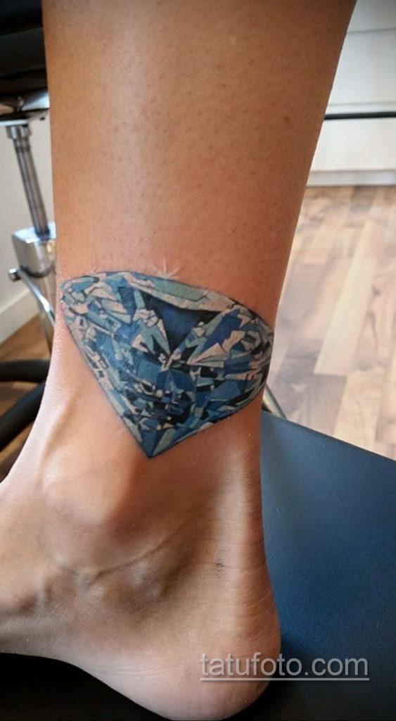 тату диамант на ноге 02.12.2019 №024 -diamond leg tattoo- tatufoto.com