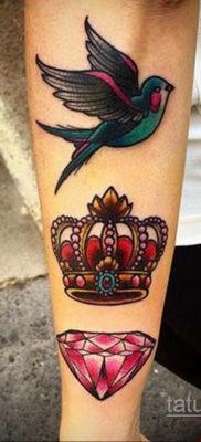 тату диамант с короной 02.12.2019 №065 -diamond tattoo with crown- tatufoto.com