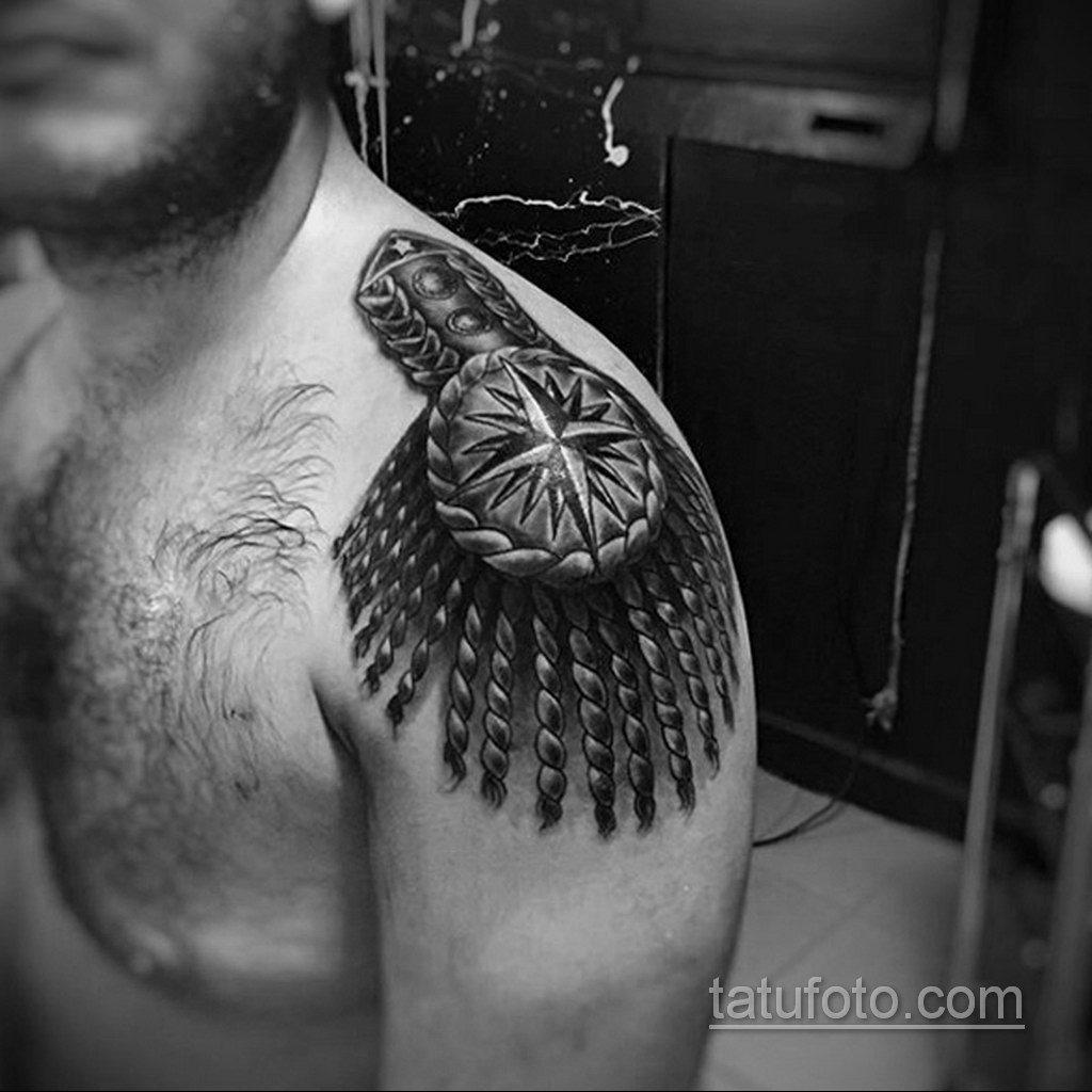 фото тату эполет на плече (погон) 10.12.2019 №002 -tattoo epaulettes- tatufoto.com