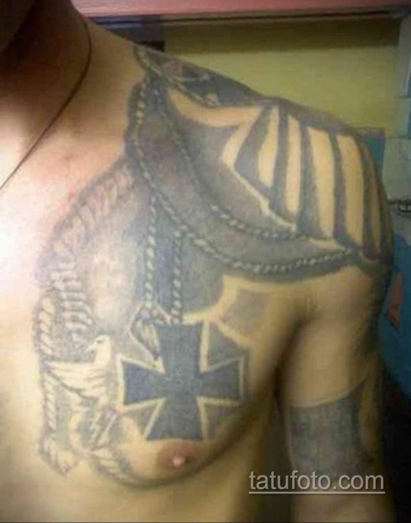 фото тату эполет на плече (погон) 10.12.2019 №079 -tattoo epaulettes- tatufoto.com