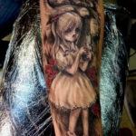 хоррор тату на руке 12.12.2019 №024 -horror tattoo on the arm- tatufoto.com
