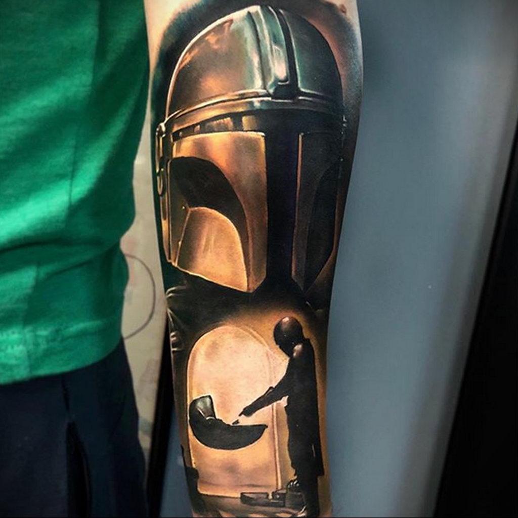 joshuaandersontattoo и рисунок татуировки на тему из сериала Мандалорец 1