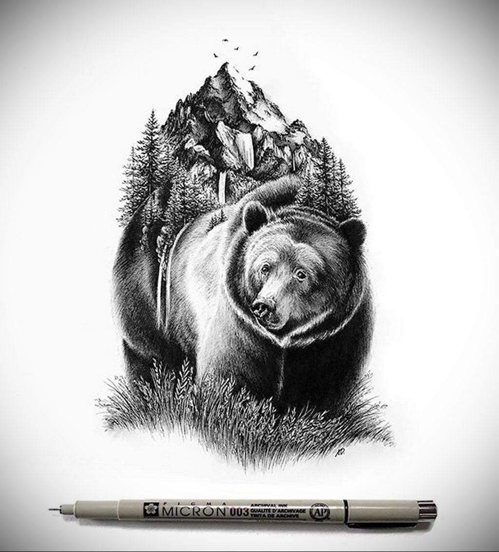Красивый и реалистичный эскиз для тату с медведем – 08.01.2020 - tatufoto.com