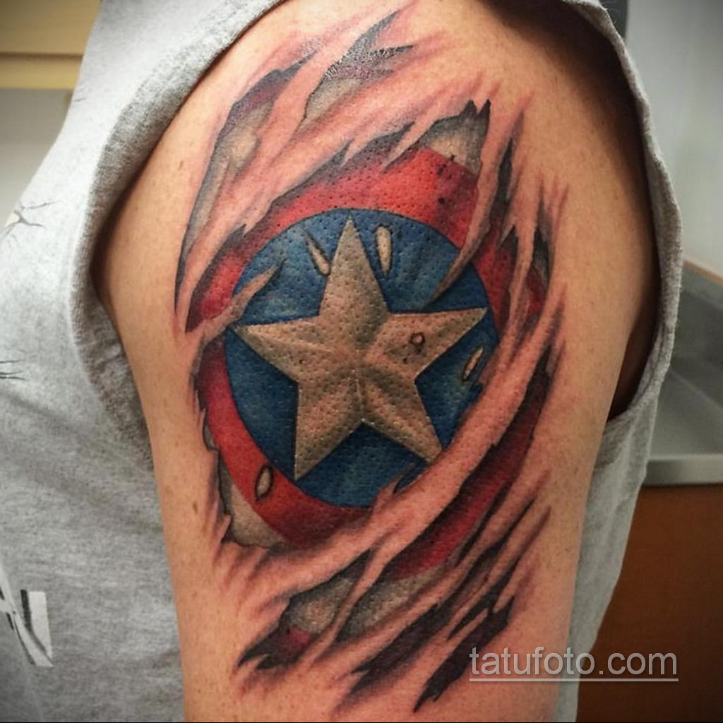 Тату супергерой Капитан Америка 15.01.2020 №015 -Marvel Tattoo- tatufoto.com