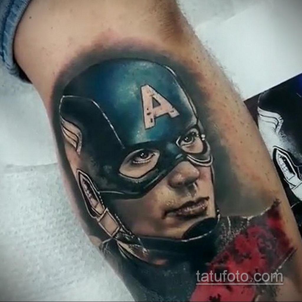 Тату супергерой Капитан Америка 15.01.2020 №026 -Marvel Tattoo- tatufoto.com
