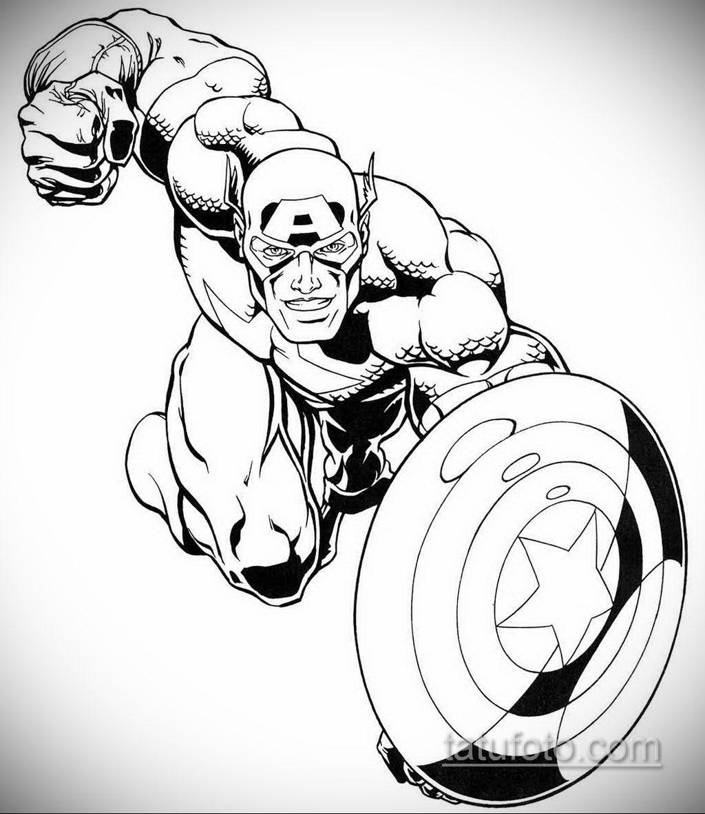 Тату супергерой Капитан Америка 15.01.2020 №031 -Marvel Tattoo- tatufoto.com