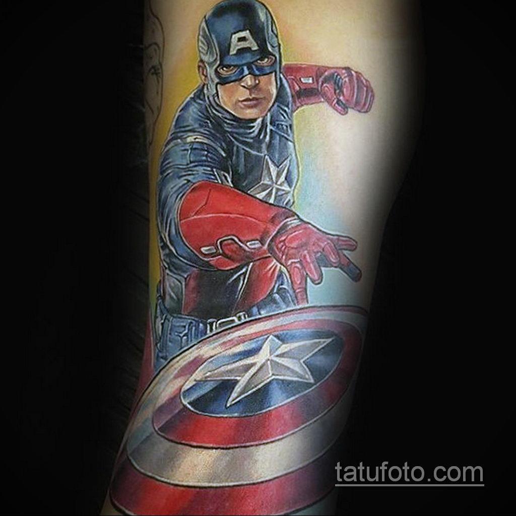 Тату супергерой Капитан Америка 15.01.2020 №032 -Marvel Tattoo- tatufoto.com