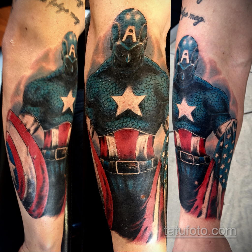 Тату супергерой Капитан Америка 15.01.2020 №035 -Marvel Tattoo- tatufoto.com