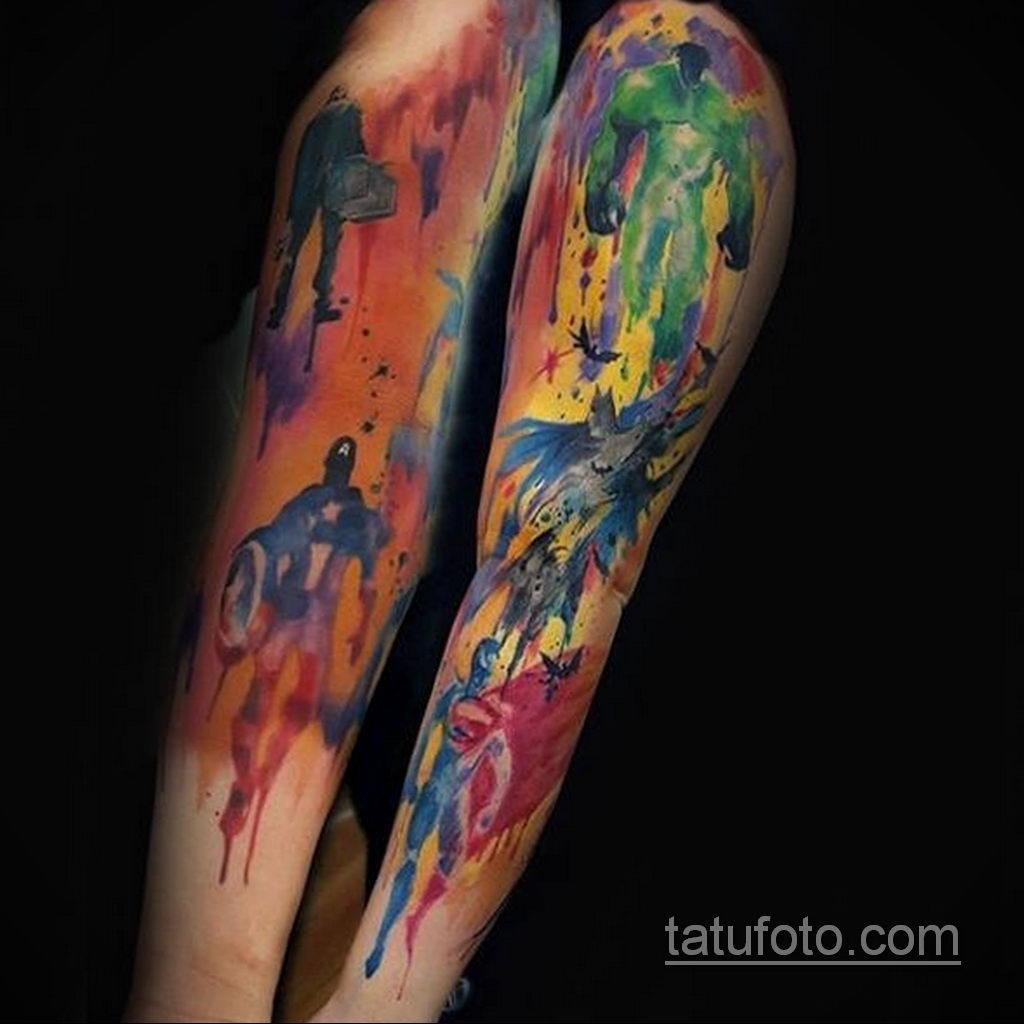 Тату супергерой Капитан Америка 15.01.2020 №041 -Marvel Tattoo- tatufoto.com