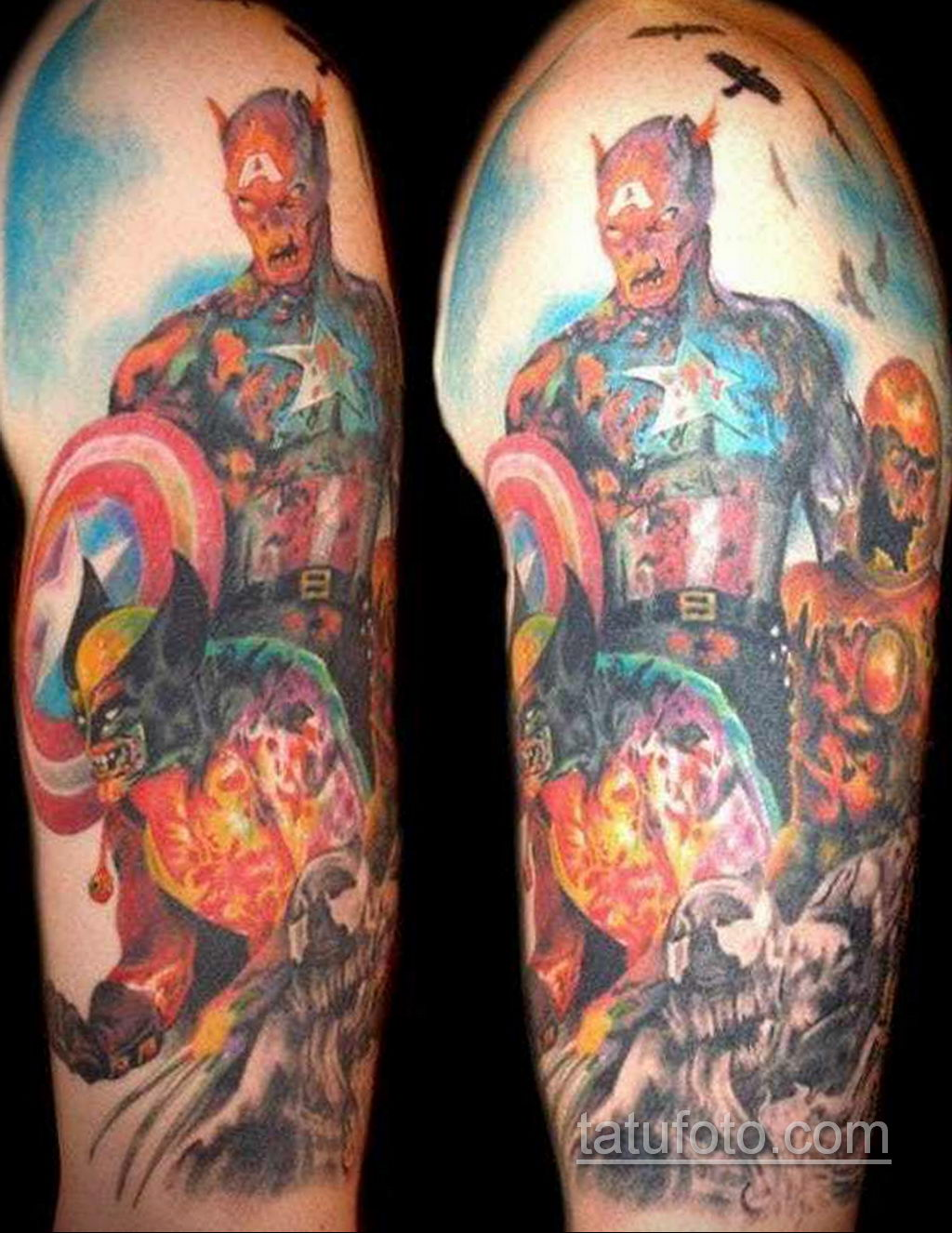 Тату супергерой Капитан Америка 15.01.2020 №045 -Marvel Tattoo- tatufoto.com