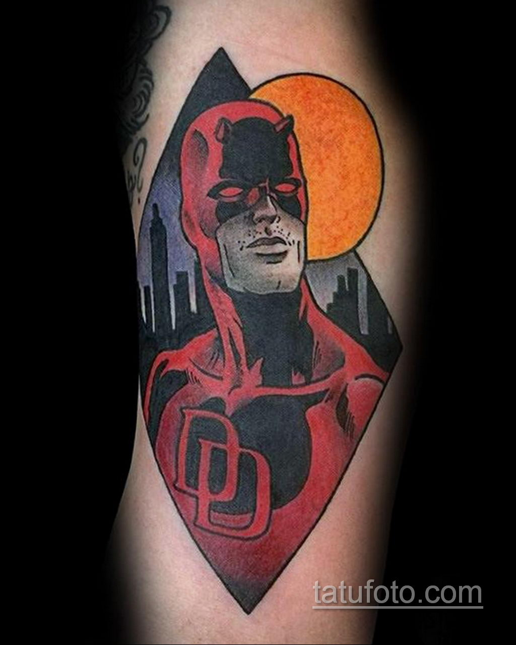 Тату супергерой Сорвиголова 15.01.2020 №007 -Daredevil Superhero Tattoo- tatufoto.com