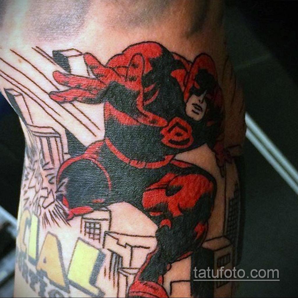 Тату супергерой Сорвиголова 15.01.2020 №009 -Daredevil Superhero Tattoo- tatufoto.com