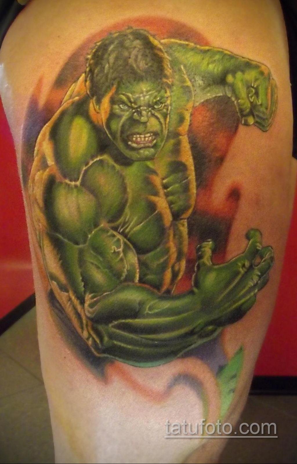 Тату супергерой Халк 15.01.2020 №005 -Marvel Tattoo- tatufoto.com