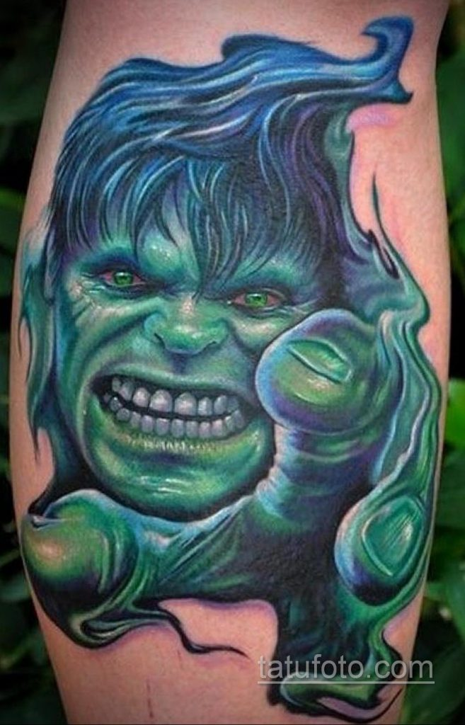 Тату супергерой Халк 15.01.2020 №008 -Marvel Tattoo- tatufoto.com