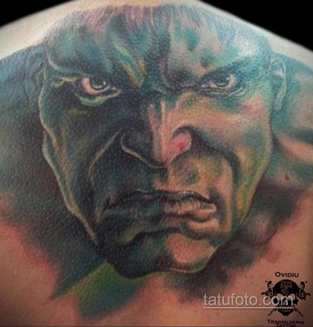 Тату супергерой Халк 15.01.2020 №009 -Marvel Tattoo- tatufoto.com
