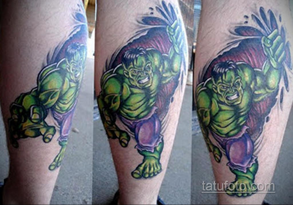Тату супергерой Халк 15.01.2020 №017 -Marvel Tattoo- tatufoto.com