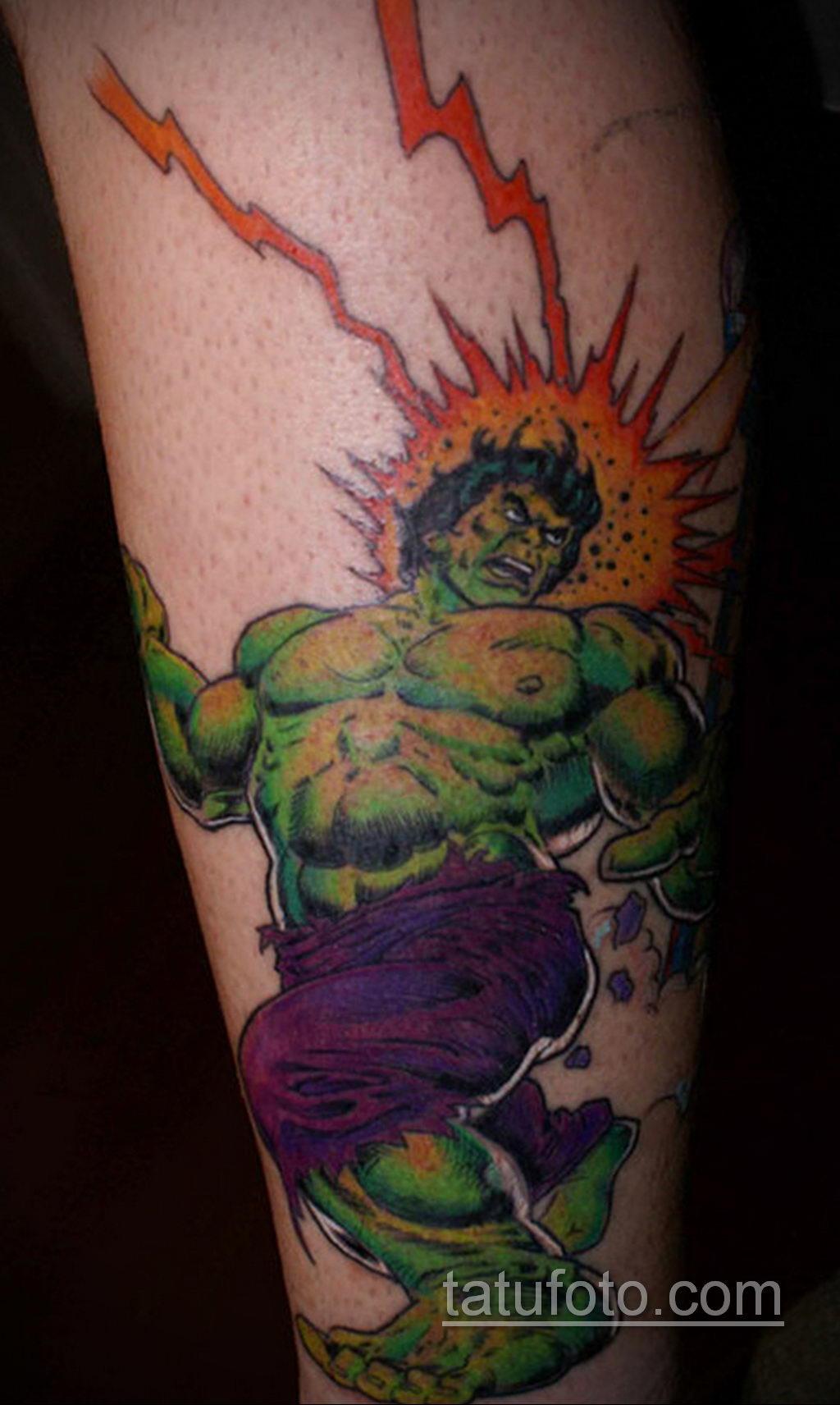 Тату супергерой Халк 15.01.2020 №018 -Marvel Tattoo- tatufoto.com