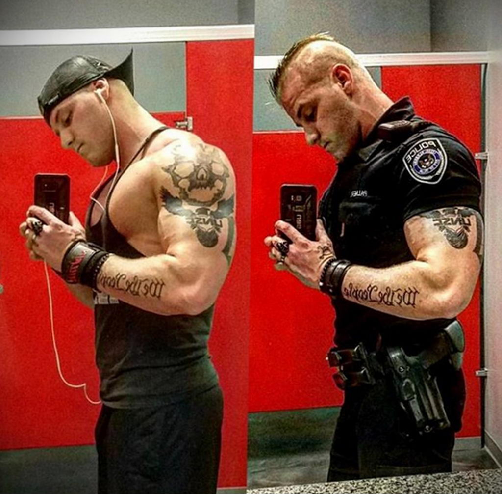 Фото действующего сотрудника полиции в форме с татуировками на теле для tatufoto.com 63