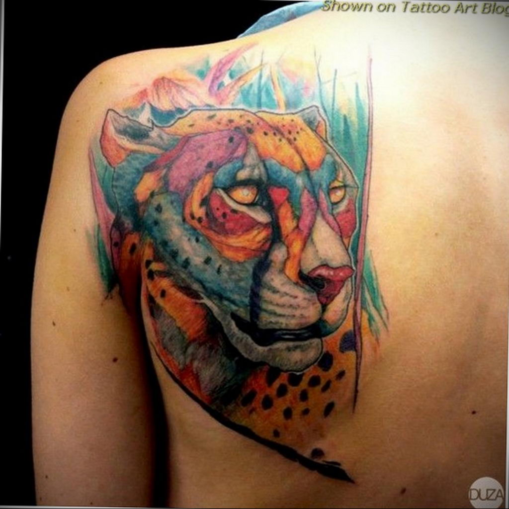 Фото тату Гепард 12.01.2020 №276 -cheetah tattoo- tatufoto.com