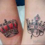 тату корона на запястье девушки 02.01.2020 №005 -crown tattoo on the wrist- tatufoto.com