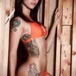 тату у девушки в купальнике 21.01.2020 №003 -tattoo in a girl in a swimsuit- tatufoto.com