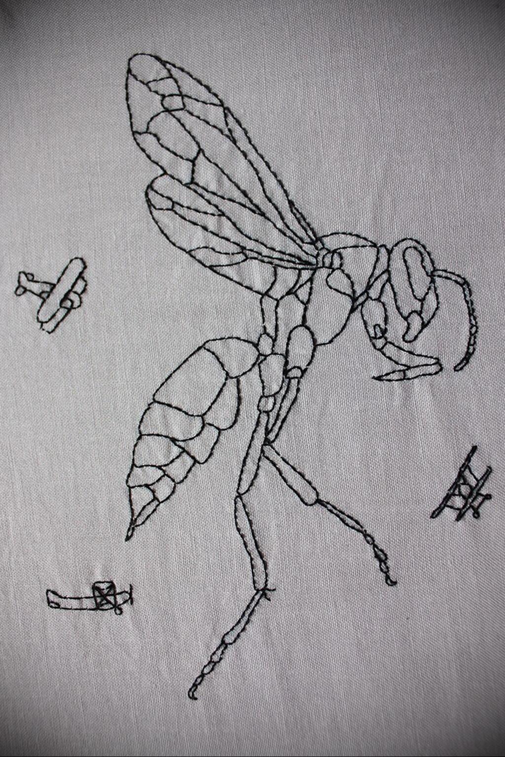drawing wasp 07.01.2020 №1059 -wasp tattoo sketch- tatufoto.com