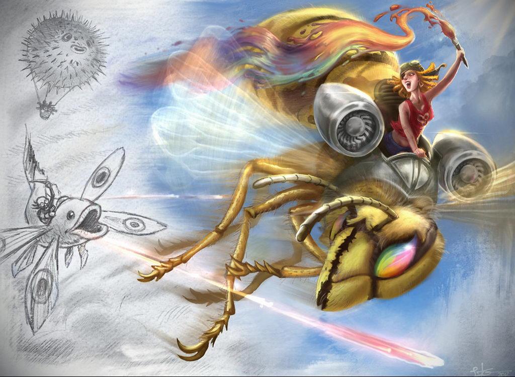 drawing wasp 07.01.2020 №1070 -wasp tattoo sketch- tatufoto.com