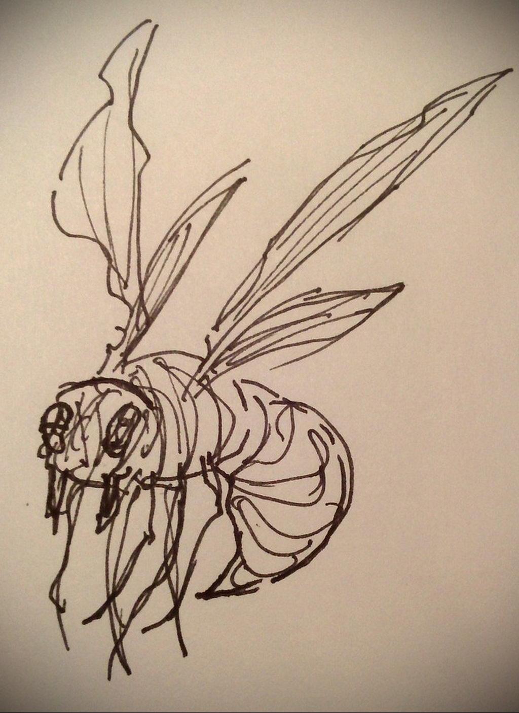 drawing wasp 07.01.2020 №1080 -wasp tattoo sketch- tatufoto.com