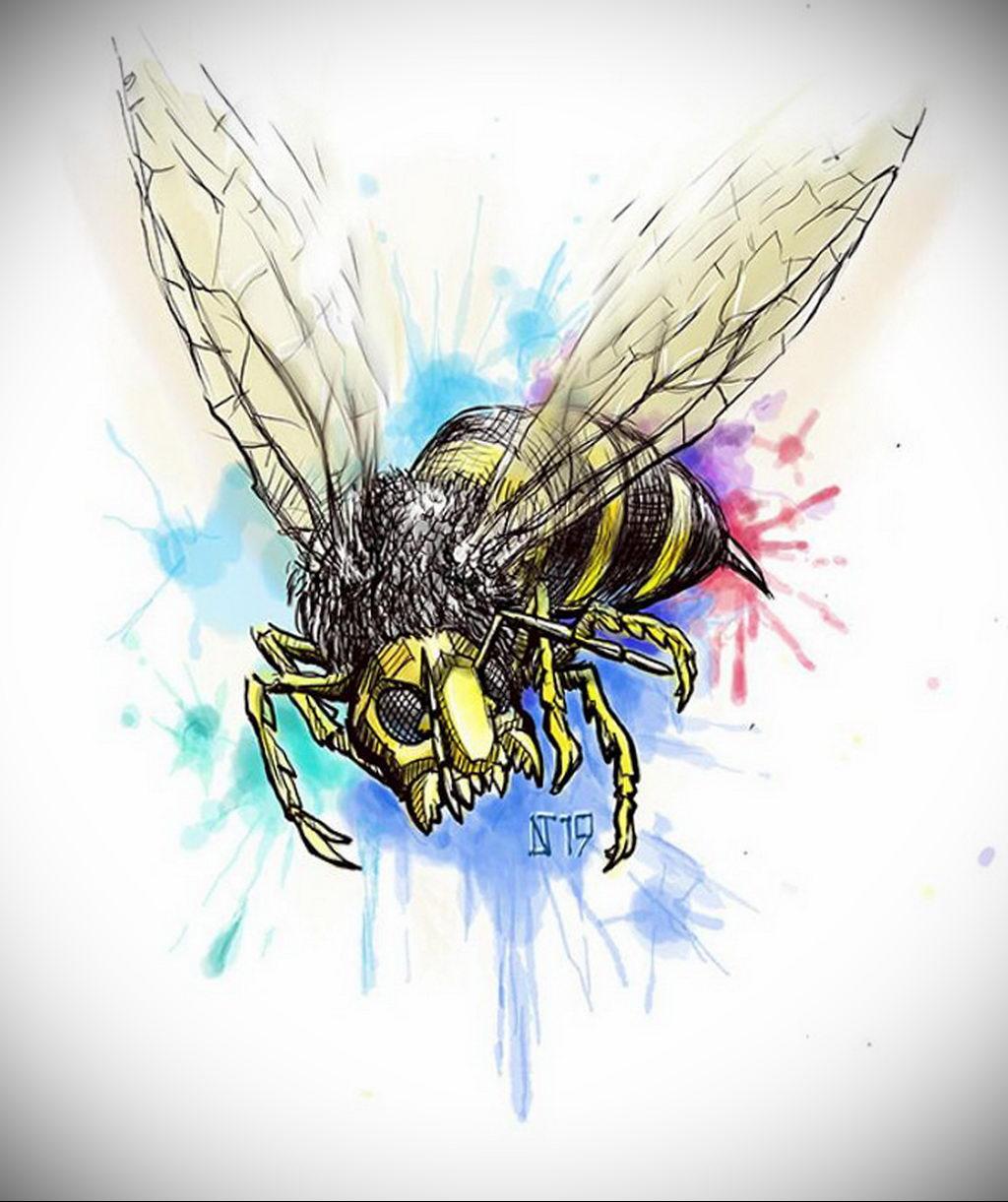 wasp tattoo sketch 07.01.2020 №3016 -wasp tattoo sketch- tatufoto.com