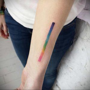 Парная тату с полоской радуги - фото 2