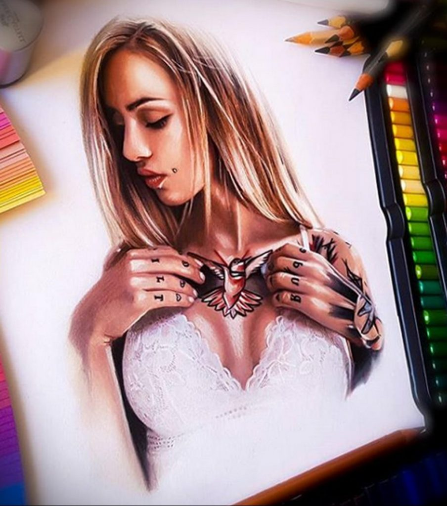 Пример невероятно реалистичного рисунка с девушкой у которой есть на теле татуировкаи для сайта tatufoto.com 14