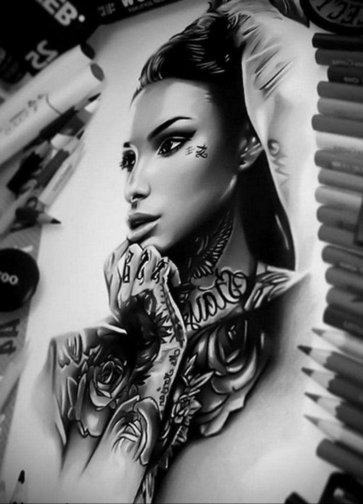 Пример невероятно реалистичного рисунка с девушкой у которой есть на теле татуировкаи для сайта tatufoto.com 15