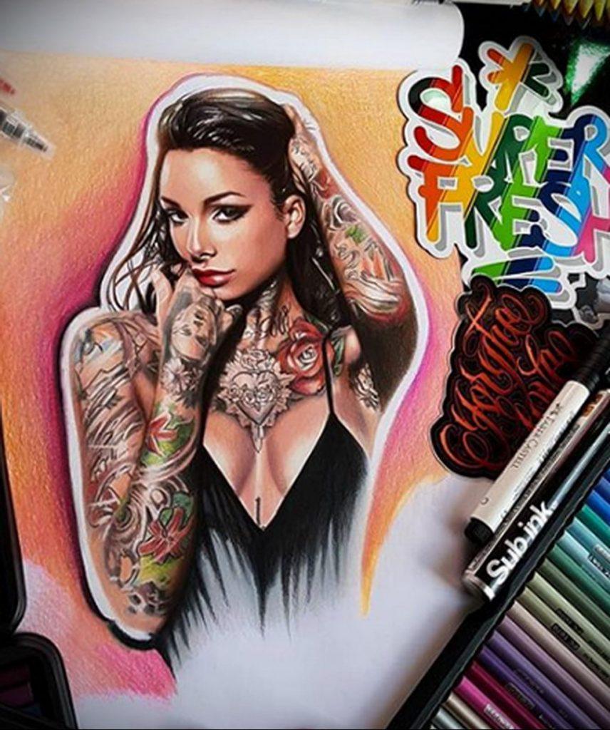 Пример невероятно реалистичного рисунка с девушкой у которой есть на теле татуировкаи для сайта tatufoto.com 17