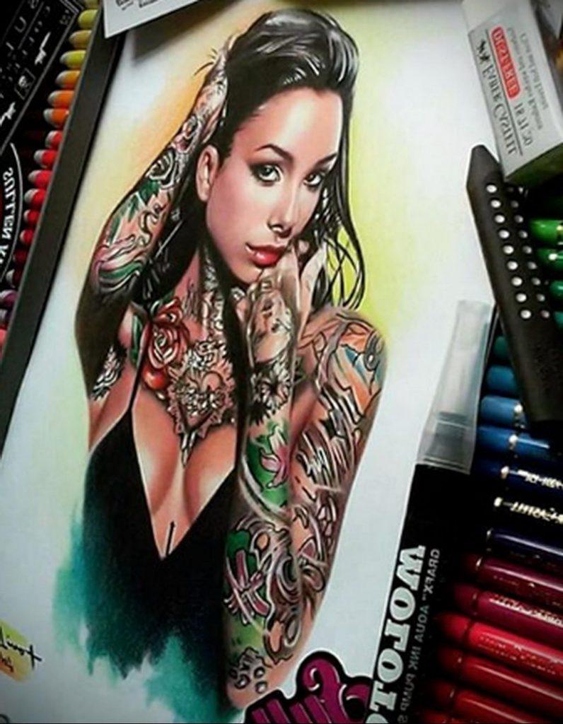 Пример невероятно реалистичного рисунка с девушкой у которой есть на теле татуировкаи для сайта tatufoto.com 19