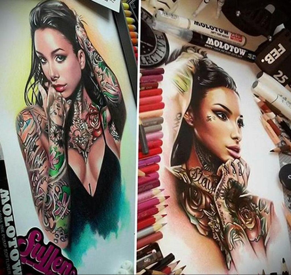 Пример невероятно реалистичного рисунка с девушкой у которой есть на теле татуировкаи для сайта tatufoto.com 21
