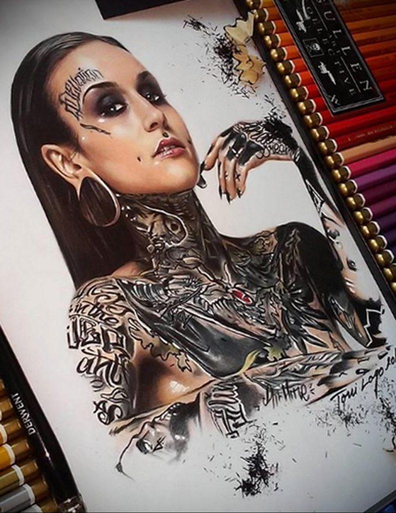 Пример невероятно реалистичного рисунка с девушкой у которой есть на теле татуировкаи для сайта tatufoto.com 23