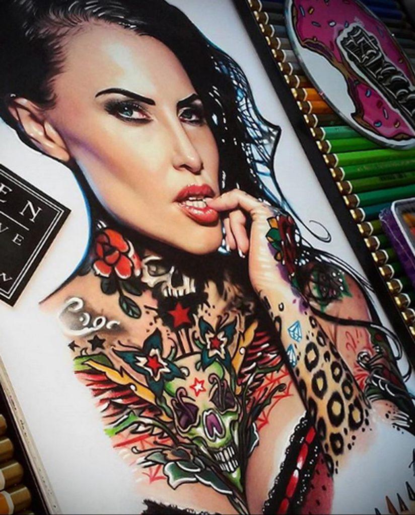 Пример невероятно реалистичного рисунка с девушкой у которой есть на теле татуировкаи для сайта tatufoto.com 24