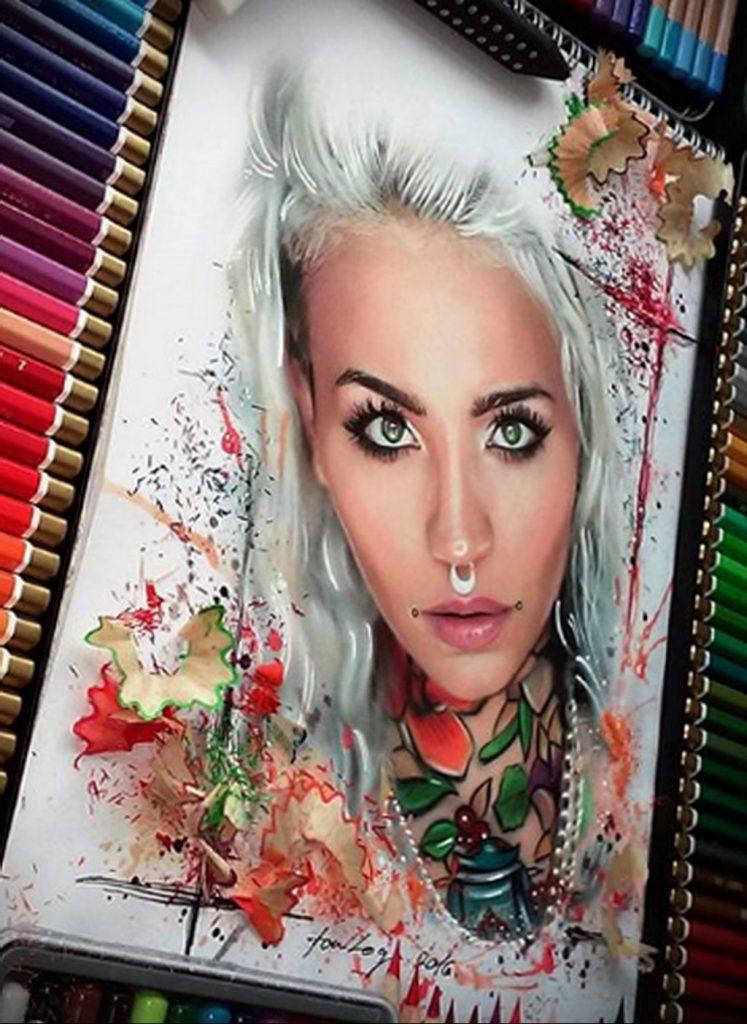 Пример невероятно реалистичного рисунка с девушкой у которой есть на теле татуировкаи для сайта tatufoto.com 25