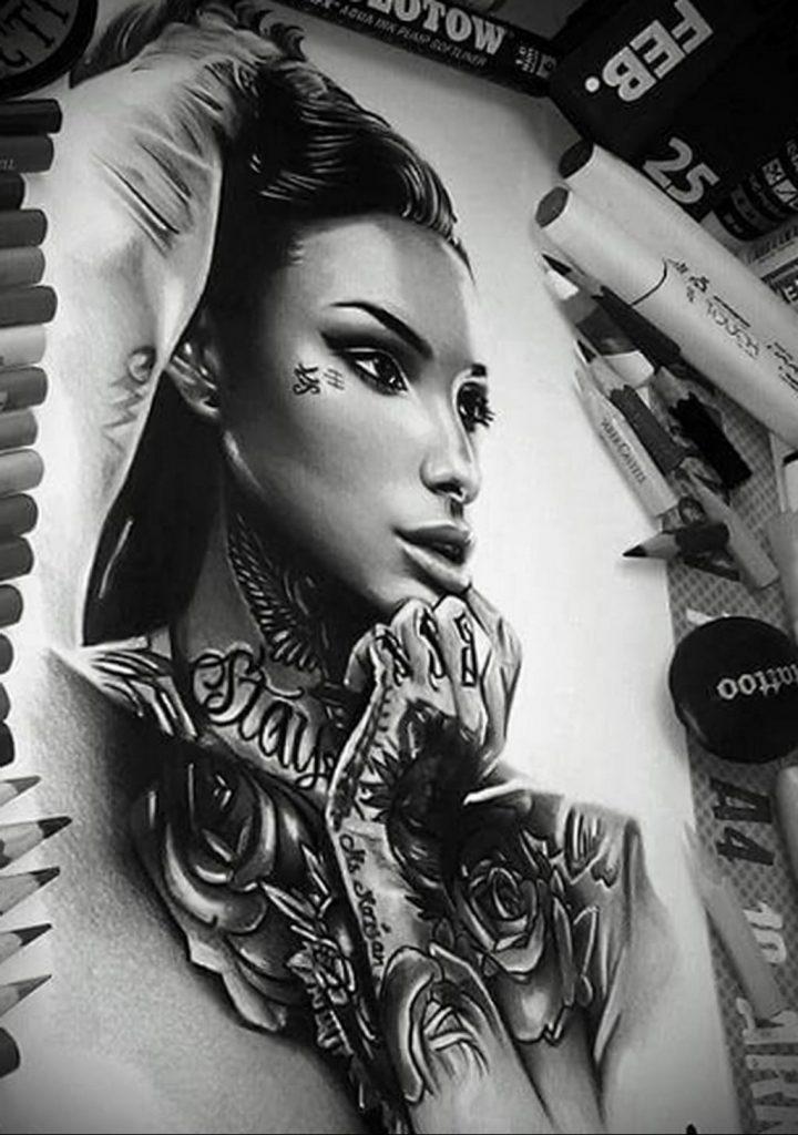 Пример невероятно реалистичного рисунка с девушкой у которой есть на теле татуировкаи для сайта tatufoto.com 26