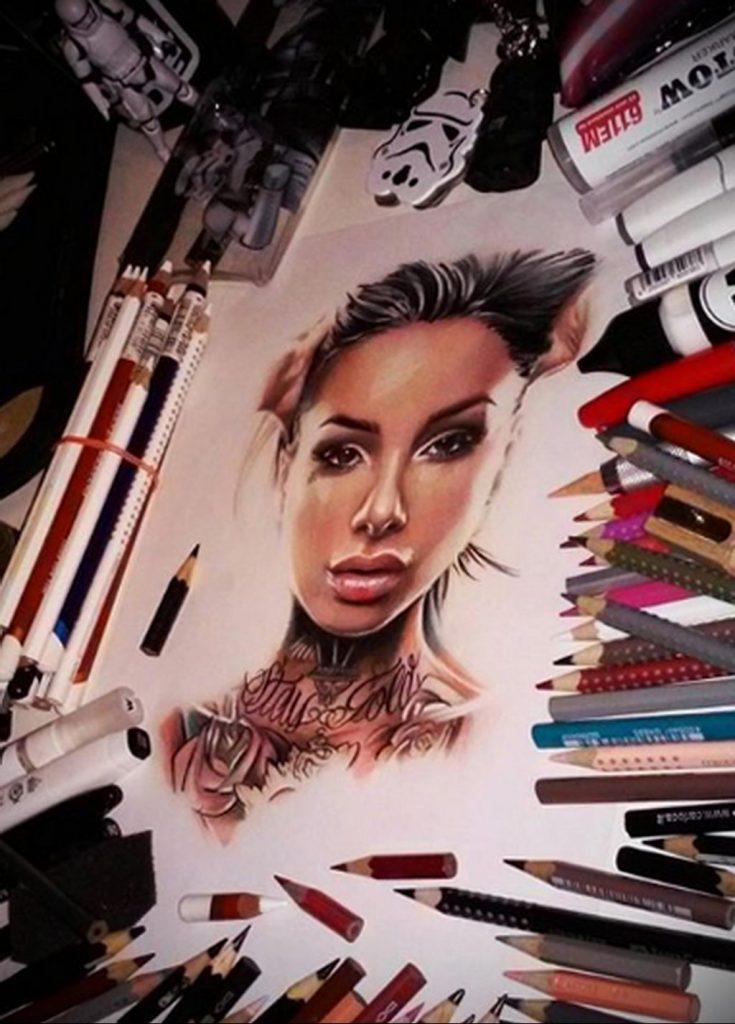Пример невероятно реалистичного рисунка с девушкой у которой есть на теле татуировкаи для сайта tatufoto.com 27